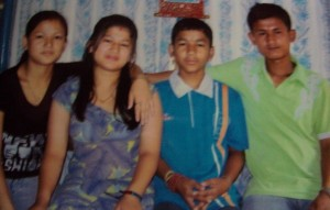 Khadka's daughters Jitu and Uma (from left) and his sons, Jit and Umesh