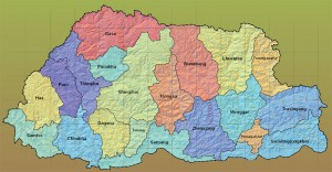 The Truncated map of Bhutan (districts-wise), that was handed down to the new parliament
