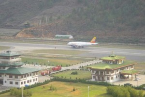 Druk Air flight landing at Paro Airport