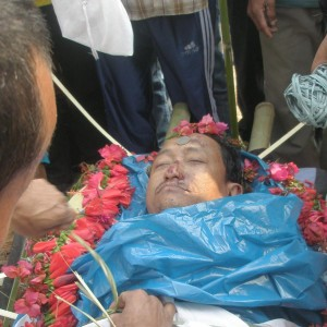The dead body of Subba before the funeral